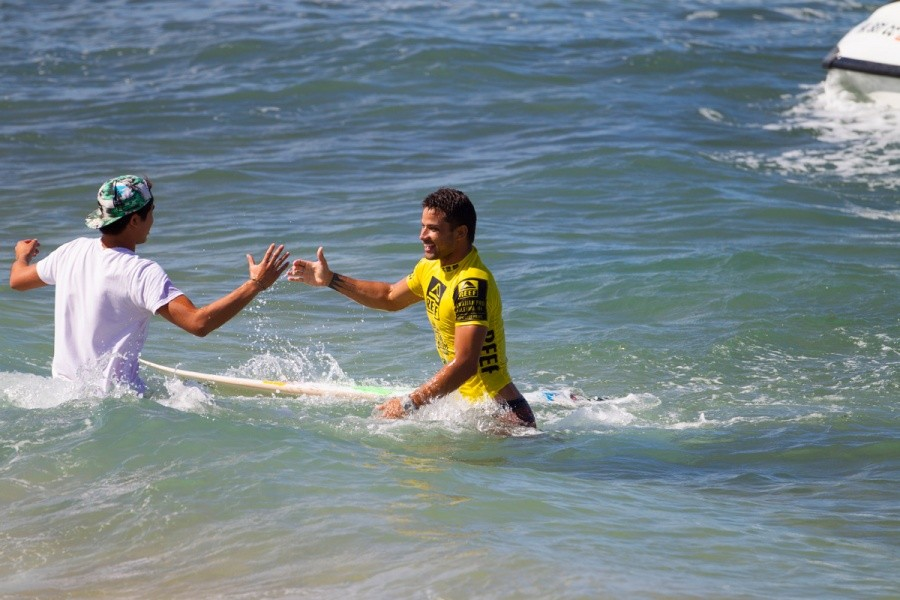Michel Bourez congratulated after winning the Reef Hawaiian Pro.   © ASP / Kirstin