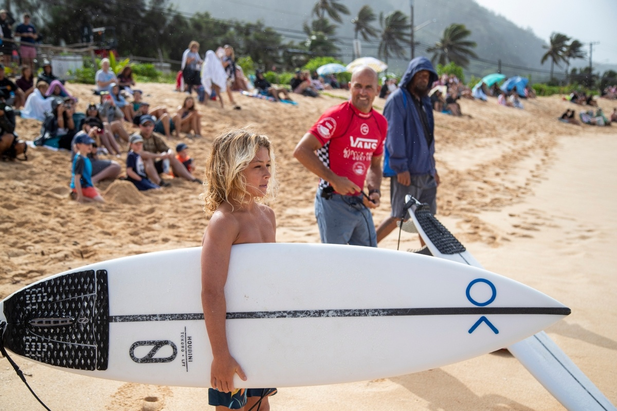 Kelly Slater and Jackson Dorian.   © WSL / Heff