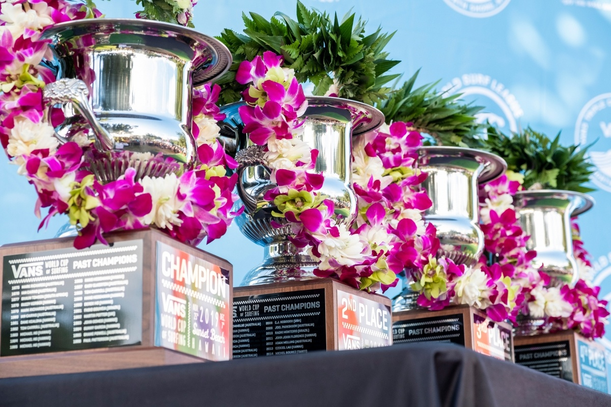 Vans World Cup of Surfing trophies.   © WSL / Keoki
