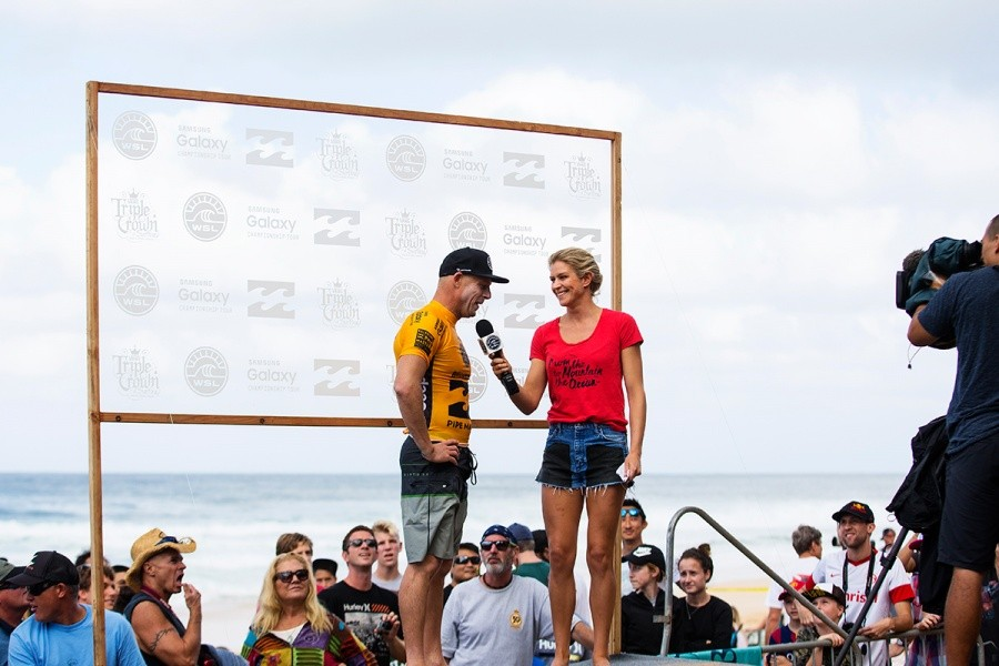 Mick Fanning during his post heat interview.   © WSL / Kirstin