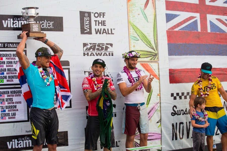 First place Ezekial Lau, second place Damien Hobgood, third Raoni Monteiro and fourth Frederico Morais.   © ASP / Kirstin