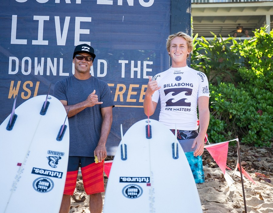 Rainos Hayes and Finn McGill.   © WSL / Heff