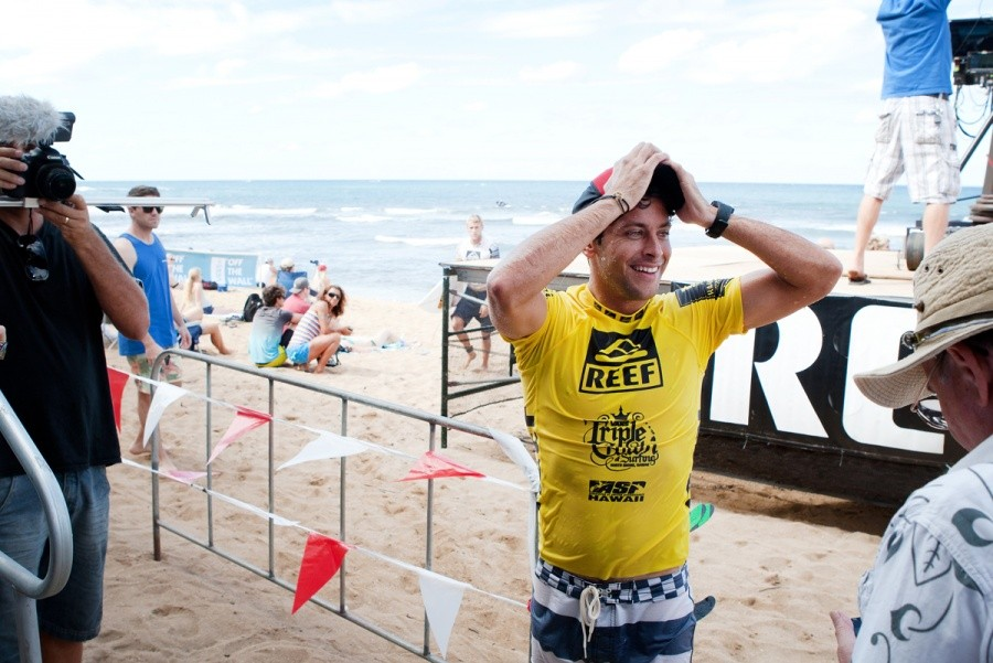 Jeremy Flores (FRA) pretty happy to advance to the Quarter Finals.   © ASP / Cestari