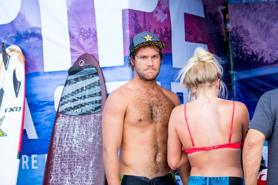 Granger Larsen looking a little disappointed after his defeat at Pipe.   © ASP / Kirstin