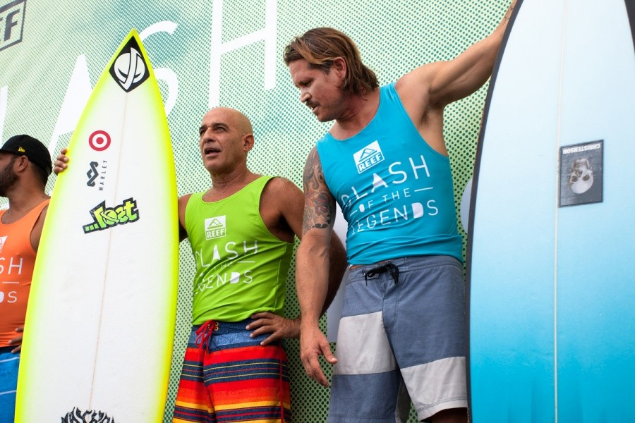 Michael Ho and Brad Gerlach take to the stage before the first round of the Clash of the Legends.   © ASP / Cestari