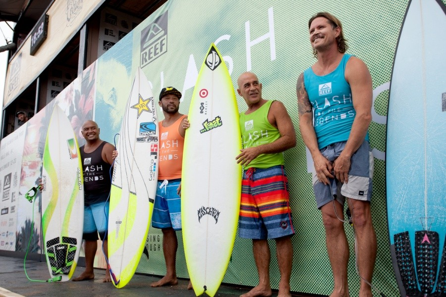 Legends Kaipo Jacquias, Sunny Garcia and Michael Ho and Brad Gerlach will be clashing during the REEF Hawaiian Pro at Haleiwa.   © ASP / Cestari
