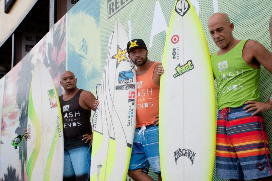 Hawaiian Legends Kaipo Jacquias, Sunny Garcia and Michael Ho.   © ASP / Cestari