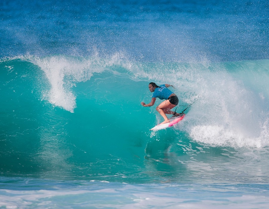 Carissa Moore placed second in the Women's Pipe Invitational at Pipeline, Oahu, Hawaii.   © WSL / Heff