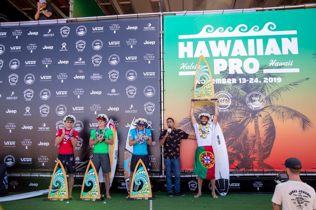 2019 Hawaiian Pro Champion Frederico Morais and finalists.   © WSL / Heff