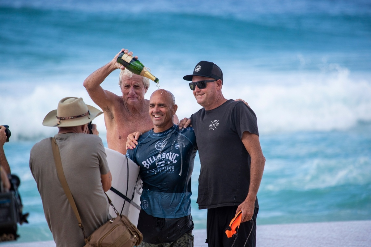 Kelly Slater, Abe Lerner and Mark Cunningham.   © WSL / Heff